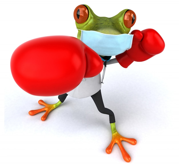 3d illustration of a doctor frog with a mask for coronavirus prevention