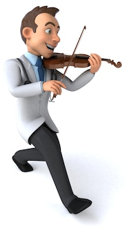 3d illustration of a doctor violinist