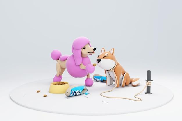 3dイラスト犬の餌やり時間