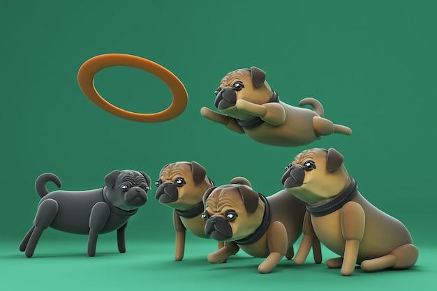 3d illustration dog playing frisbee