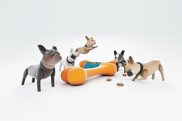 大きな骨で遊ぶ3dイラスト犬