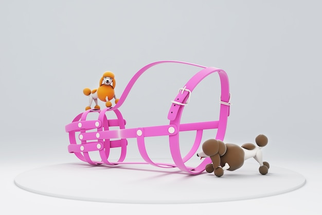 3d illustration of a dog playing