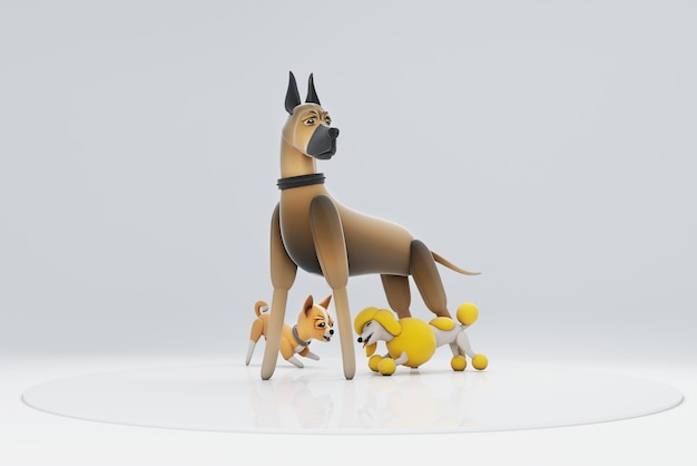3d illustration of a dog sifting under the leg