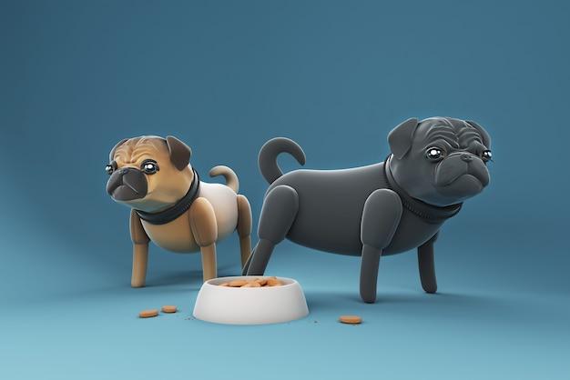食べ物を見つめる3dイラスト犬