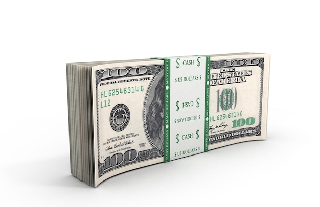 3d illustration of dollars a pack close up standing on the floor isolated on white background