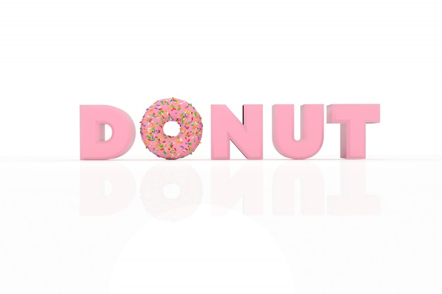 3d иллюстрации пончик и текст