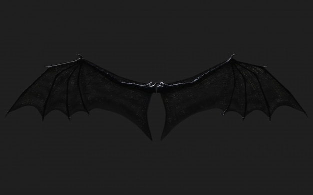 3d illustration dragon wing, devil wings, demon wing plumage isolated on black   with clipping path.