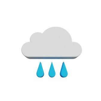 3d illustration drizzle icon with cloud and drop water