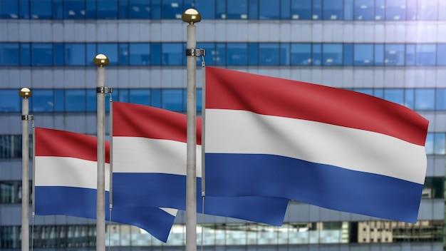 3d 그림 현대적인 마천루 도시를 흔들며 네덜란드어 플래그입니다. 네덜란드 배너 부드러운 부드러운 실크와 함께 아름 다운 높이 타워. 천 패브릭 질감 소위 배경. 국경일 국가 개념.