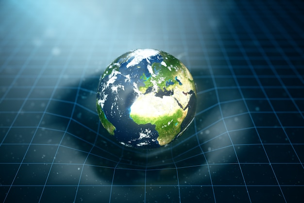 3d illustration earth's gravity bends space around it. with bokeh effect. concept gravity deforms space time grid around universe. spacetime curvature. elements of this image furnished by nasa.