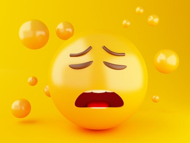 3d illustration. emoji icons with facial expressions. social media concept.