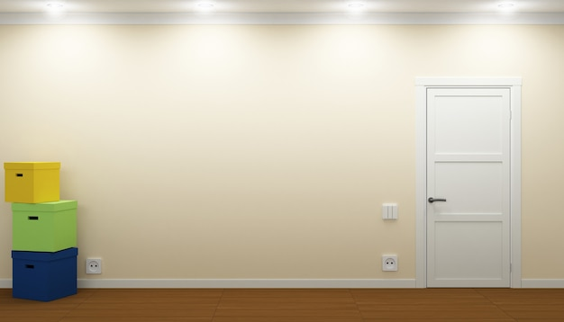3d illustration. empty room with door and boxes. relocation process. realty