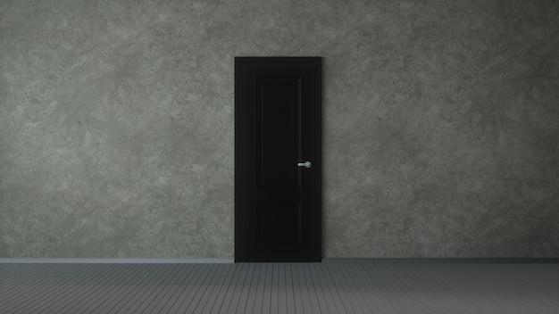 3d illustration the empty room with door.