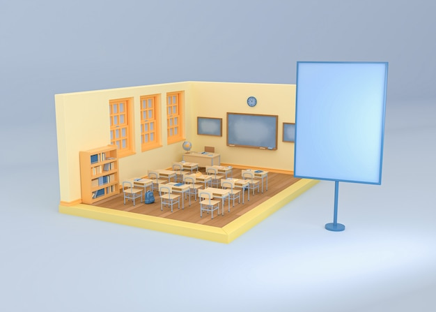 3d illustration. empty school classroom with a blank sign board. back to school