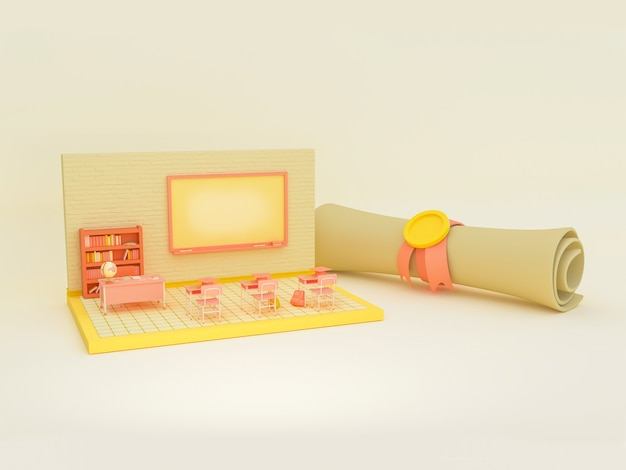 3d illustration. empty school classroom with a diploma