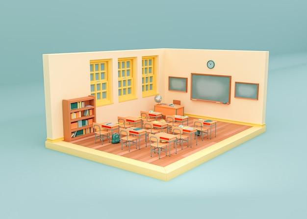 3d illustration. empty school classroom