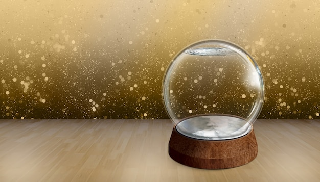 3d illustration empty snow ball on wood background bokeh backdrops for new years eve celebrations