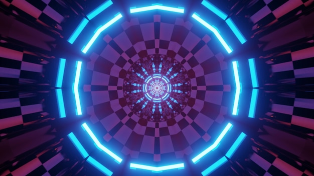 3d illustration of endless virtual world tunnel with circular cells and glowing neon frames for abstract futuristic background design