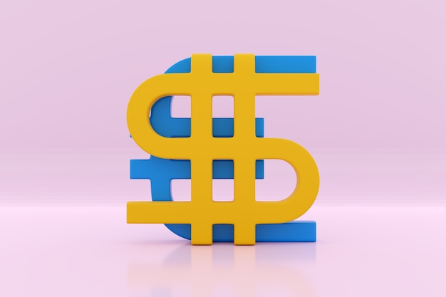 3d illustration of euro and dollar money shape on pink isolated. currency exchange symbol, rising prices. convert dollar to euro and back.
