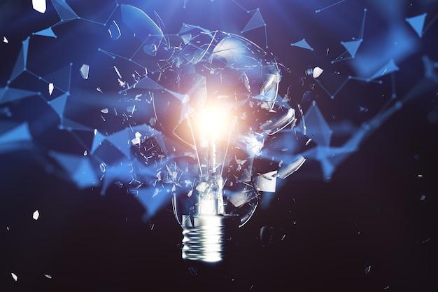 3d 그림 파란색 배경, 개념 창의적 사고와 혁신적인 솔루션에 전구를 폭발. 네트워크 연결 선과 점. 혁신적인 아이디어.