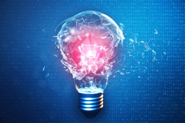 3 dイラストレーション青色の背景に電球を爆発させ、創造的な思考と革新的なソリューションをコンセプトにしています。センターコンセプトウイルスの赤い輝き。バイナリコード