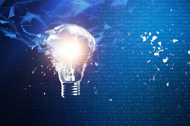 青、概念の創造的な思考と革新的なソリューションに電球を爆発させる3 dイラスト。ネットワーク接続線とドット。革新的なアイデア。