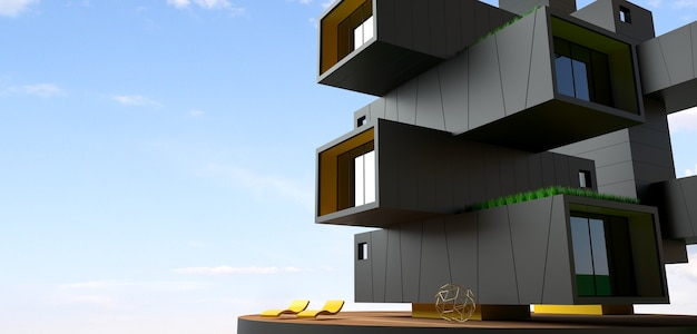 3d illustration. facade of skyscraper building from containers. modern office or hotel in a metropolis