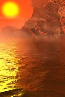 3d иллюстрации. фантастический пейзаж марсианского моря со скалами, горами и гротами, солнцем, отражением воды, туманом и облаками.