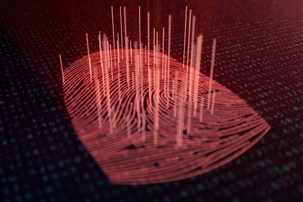 3d illustration fingerprint scan provides security access with biometrics identification. concept fingerprint hacking, threat. finger print with binary code. concept of digital security.