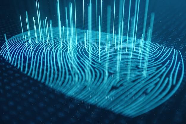 3dイラストレーションの指紋スキャンは、生体認証によるセキュリティアクセスを提供します。コンセプト指紋保護。バイナリコード付きの指紋。デジタルセキュリティの概念