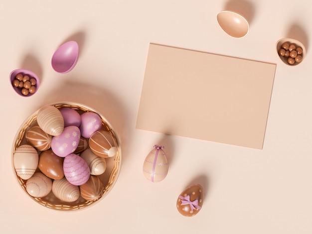3d иллюстрации. сдать кладку чистого листа бумаги и пасхальных яиц с разными цветами