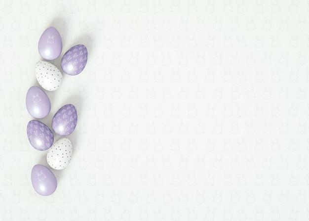 3d иллюстрации. раскладывать пасхальные яйца на белом