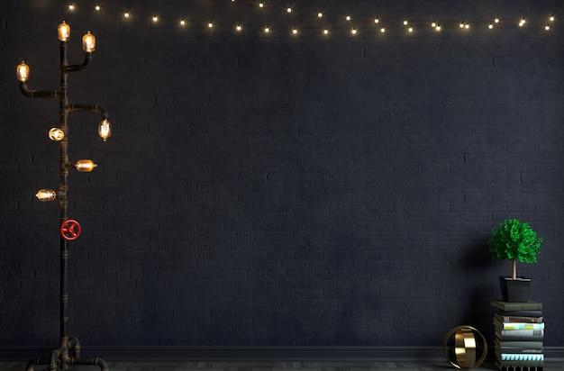 3d 그림. 로프트 스타일의 오래 된 벽돌 벽에 플로어 램프. 스튜디오 또는 인터뷰 배경