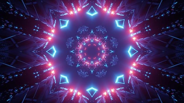 3d illustration of flower shaped neon corridor