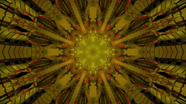 3d illustration of flower shaped symmetric kaleidoscope ornament in golden and orange colors as abstract background