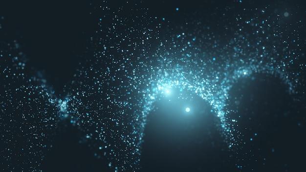 3d иллюстрации течет частицы с красивыми эффектами вспышки света