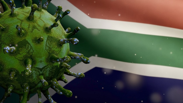 3d illustration flu coronavirus floating over african rsa flag. south africa banner waving with pandemic of covid19 virus infection concept. real fabric texture ensign