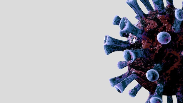 3d 일러스트 독감 코로나 바이러스는 호흡기를 공격하는 병원균 인 유체 현미경보기에 떠 있습니다. covid19 바이러스 감염 개념의 유행성.