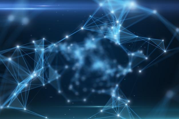 3d-иллюстрация пролетая через туннель цифровых данных, состоящий из цифровых узлов и путей соединения
