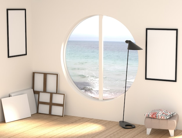 3d illustration of a free artist workshop with empty canvases and frames.
