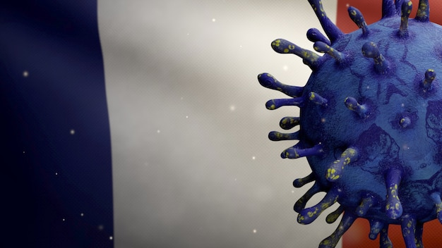 3d illustration french flag waving with coronavirus outbreak infecting respiratory system as dangerous flu. influenza type covid 19 virus with national france banner blowing background. pandemic risk