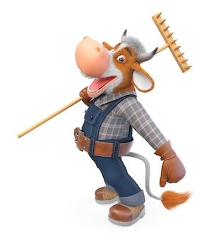 3d иллюстрации смешной бык - фермер, занимающийся сельским хозяйством