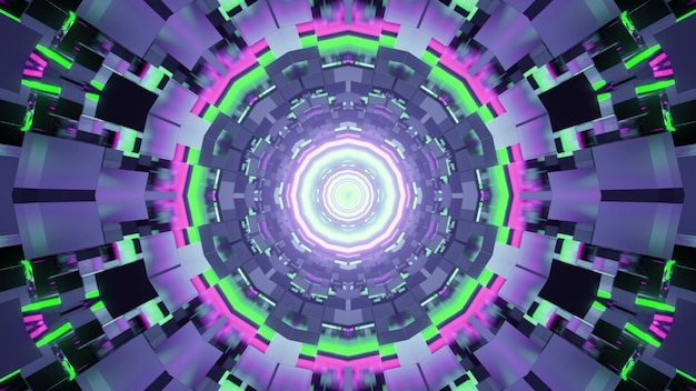 3d illustration of futuristic cyberspace with bright colorful neon lamps lowing in swirling tunnel