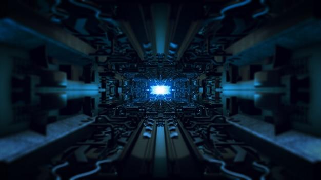 3 dイラスト未来的なデザインの宇宙船内部無限回廊