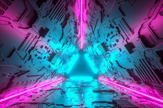 3d 그림. 네온 불빛과 함께 미래의 공상 과학 터널 복도. 미래와 공상 과학 개념.