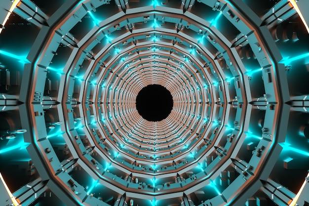 3d 그림. 미래의 공상 과학 터널 복도.