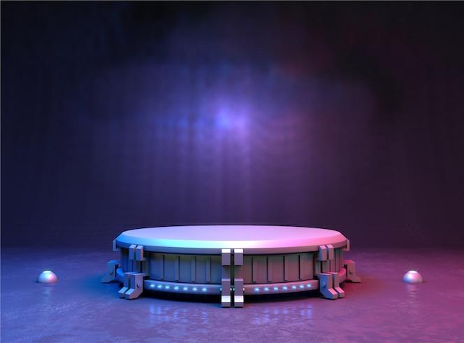 3dイラスト。ロゴの未来的なスタンドまたは表彰台の背景。高エネルギー。モックアップ