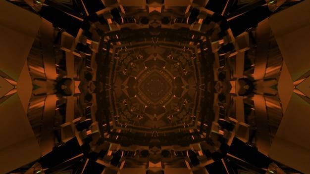 3d illustration of futuristic symmetric square tunnel with crystal walls of dark orange color