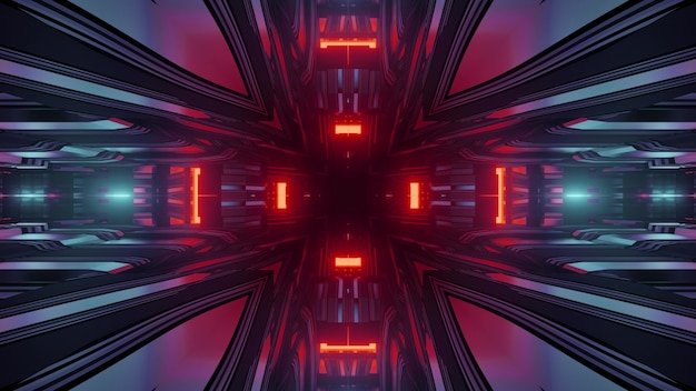 3d illustration futuristic technology abstract background of virtual corridor with geometric design and red neon lights reflecting in mirrored surface