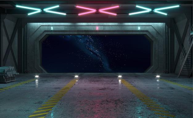 3d иллюстрации. ворота шлюза космического корабля на орбите
